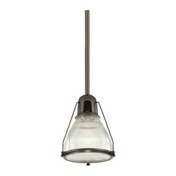 "Hudson Valley - Industrial Hudson Valley Haverhill 12"" Wide Old Bronze Pendant - Clear beautiful ribbed prismatic glass is attached to an industrial-inspired housing in this transitional style old bronze pendant light. A clear glass diffuser prevents glare. Ceiling canopy downrod hardware and trim in old bronze give this light a casually traditional look. Its versatile design will brighten up kitchens bar areas work spaces and playrooms. A handsome fixture from Hudson Valley Lighting. Old bronze finish metal. Clear ribbed prismatic glass. Maximum 100 watt or equivalent bulb (not included). 12"" wide. 19 1/2"" high. 71 1/2"" overall height. Canopy is 5 1/4"" wide.  Clear ribbed prismatic glass.  Old bronze finish metal.  Maximum 100 watt or equivalent bulb (not included).  19 1/2"" high.  12"" wide.  73 1/2"" overall height.  Glass is 10 1/2"" wide and 8 1/4"" high.  Canopy is 5 1/4"" wide."