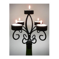 Vinotemp - Epicureanist Wine Bottle Candelabra - Includes five tea lights. Five individual candle holders. Base fits into mouth of most empty wine bottles. Made from metal. Black color. 7.25 in. W x 7.25 in. D x 6.75 in. H. WarrantyThe Epicureanist Wine Bottle Candelabra is a great way to reuse wine bottles and decorate your home at the same time. Simply insert the rubber base into the mouth of an empty wine bottle, place one tea light in each of the five candle holders and enjoy the beauty of your ornate candelabra.