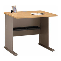 Bush Business - 36 in. Desk in Light Oak - Series A - Need a simple but refined workstation, then take a seat at our 36 Desk with a Light Oak desktop.  Keep the handsome desktop organized and clear of clutter by adding a hutch, a sliding keyboard shelf, and a pencil drawer.  The light oak veneer of this computer workstation helps to make it one of our most attractive computer workstations, and the desk incorporates several handy features, including the C-leg design that gives the user plenty of leg room, and cable concealment grommets.  It is available with a number of additional extras such as sliding keyboard shelf and pencil drawer.  Computer users will appreciate the built-in grommets in the top and leg that allow easy wire access and concealment. * Need a simple but refined workstation, then take a seat at our 36 Desk with a Light Oak desktop. Keep the handsome desktop organized and clear of clutter by adding a hutch, a sliding keyboard shelf, and a pencil drawer. 35.59 in. W x 26.811 in. D x 29.764 in. H