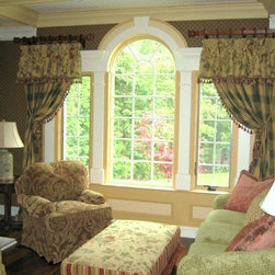 Window treatments from our custom workroom - Basking Ridge NJ home with custom window treatments from European Home Collection and interior design by Jere Bradwell