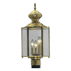Progress Lighting - Progress Lighting BrassGUARD Lanterns Transitional Outdoor Post Lantern X-01-234 - Hexagonal post lantern with clear beveled glass and BrassGuard finish.
