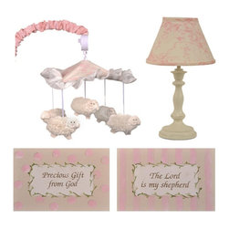 "Cotton Tale Designs - Heaven Sent Girl Decor Kit - A quality baby bedding set is essential in making your nursery warm and inviting. All Cotton Tale patterns are made using quality materials and are uniquely designed to create your perfect nursery. The Heaven Sent Girl Collection is a beautiful combination of Pinks and Cream. The Heaven Sent Girl Decor kit includes two piece Wall Art, Standard Lamp, and Mobile. A 2 piece set of hand painted, light weight wall art. Painted on natural canvas foam board with natural twill ties. The art reads The Lord is My Sheppard and Precious gift from God. These pieces measure 14"" x 10"". The sturdy lamp base is antique ivory with a floral cream and pink shade. Lamp adds a decorative touch to the nursery measuring 19"". Spot clean only, max bulb is 60 watt. Part of the Heaven Sent Girl Decor Kit is the musical mobile, 5 furry sheep circle the ruffled canopy , wind up music box playing Brahms lullaby. Arm cover in pink floral. Spot clean only. Mobiles are not toys. They should be removed from the crib when baby can sit up unassisted. Perfect for your little angel. All items can be spot cleaned or dusted."