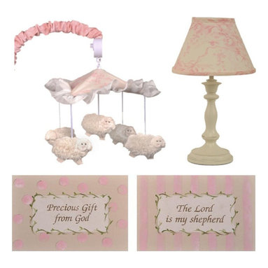 """Cotton Tale Designs - Heaven Sent Girl Decor Kit - A quality baby bedding set is essential in making your nursery warm and inviting. All Cotton Tale patterns are made using quality materials and are uniquely designed to create your perfect nursery. The Heaven Sent Girl Collection is a beautiful combination of Pinks and Cream. The Heaven Sent Girl Decor kit includes two piece Wall Art, Standard Lamp, and Mobile. A 2 piece set of hand painted, light weight wall art. Painted on natural canvas foam board with natural twill ties. The art reads The Lord is My Sheppard and Precious gift from God. These pieces measure 14"""" x 10"""". The sturdy lamp base is antique ivory with a floral cream and pink shade. Lamp adds a decorative touch to the nursery measuring 19"""". Spot clean only, max bulb is 60 watt. Part of the Heaven Sent Girl Decor Kit is the musical mobile, 5 furry sheep circle the ruffled canopy , wind up music box playing Brahms lullaby. Arm cover in pink floral. Spot clean only. Mobiles are not toys. They should be removed from the crib when baby can sit up unassisted. Perfect for your little angel. All items can be spot cleaned or dusted."""