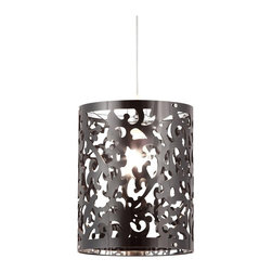 Zuo - Zuo Casimir Ceiling Lamp, Black - Casimir is elegant and classic. The Casimir ceiling lamp is an excellent way to add a splash of classic flare to a modern room. This lamp is created from an acrylic that is laser cut into the design. It's UL approved.Acrylic, Chrome. E26 Type A 1x max.100W. UL LISTED, BULB NOT INCLUDED.Max Bulb Wattage: 100WBulbs Included: 0Cord Length: 30.2Product Dimensions (W x D x H): 9.8 x 9.8 x 12