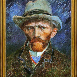 """Vincent Van Gogh-16""""x20"""" Framed Canvas - 16"""" x 20"""" Vincent Van Gogh Self Portrait with a Grey Felt Hat framed premium canvas print reproduced to meet museum quality standards. Our museum quality canvas prints are produced using high-precision print technology for a more accurate reproduction printed on high quality canvas with fade-resistant, archival inks. Our progressive business model allows us to offer works of art to you at the best wholesale pricing, significantly less than art gallery prices, affordable to all. This artwork is hand stretched onto wooden stretcher bars, then mounted into our 3"""" wide gold finish frame with black panel by one of our expert framers. Our framed canvas print comes with hardware, ready to hang on your wall.  We present a comprehensive collection of exceptional canvas art reproductions by Vincent Van Gogh."""