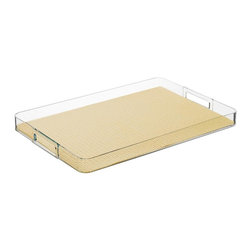 Kraftware - Lucite Rectangular Tray - Die cut jute based fabric to the exact size of the tray. Extremely durable and color fast. Removable fishnet liner for easy cleaning. Made from highest quality lucite. 19 in. L x 14 in. W x 4 in. H (2 lbs.)