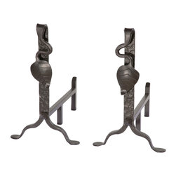 Stone County Iron Works - Leaf Black Fireplace Andirons - Stone County 900-333 Leaf Black Fireplace Andirons