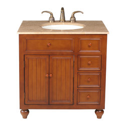 "Stufurhome - 36"" Mary Single Sink Vanity With Travertine Marble Top - A perfect choice for a mission or country-style home, the 36"" Mary Single Sink Vanity offers clean lines and simplistic design. The welcoming warmth of the cozy brown finish strikes a perfect balance with the sleek lines of the Travertine Marble Top. Wood hardware helps achieve a cohesive look, while the three roomy drawers and two doors offer an impressive amount of storage space for your every need."