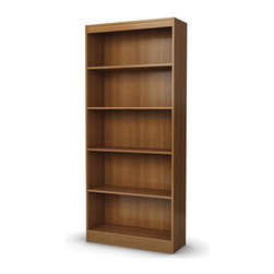 South Shore - 5 Shelves Wood Bookcase (Morgan Cherry) - Finish: Morgan CherryManufactured from eco-friendly, EPP-compliant laminated particle boardcarrying the Forest Stewardship Council (FSC) certification. 5 Shelves. Pictured in Morgan Cherry finish. Assembly Required. 30.75 in. W x 11.5 in. D x 71.25 in. H