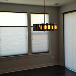 New Home in Blaine - Hunter Douglas Applause Honeycomb Shades with Duolite(Two full shades in one). Applause Honeycomb Vertiglide with same fabric over patio Door. Whole House Solutions! Today's Window Fashions