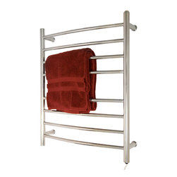 """24"""" Contemporary Curved Plug-In Towel Warmer - This contemporary towel warmer features eight towel rails that curve outward for aesthetic appeal and increased space for your extra fluffy towels and bath robes."""