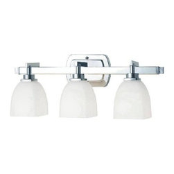 Belle Foret - Belle Foret BF858308 21.75-Inch 3 Light Bathroom Wall Sconce in Chrome - Contemporary/ Modern 3 Light Bath Wall FixtureWorld Imports Decorative Lighting and Plumbing presents Belle Foret�s Galway Bath Collection featuring bath accessories, a flush mount, Single light sconce, and triple light vanity. Available in Chrome/cased opal etched glass, Oil Rubbed Bronze/tea stained glass, Satin Nickel/cased opal etched glass.