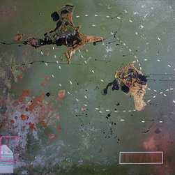 Bullets Bombs And Love (Original) by Dyd Art - This piece shows an abstract view of a world.  One full of copper bullets, gold bombs, a paper picture of soldiers, and a little love mixed in.  This piece is not framed but is painted on the edges of the canvas.  It would look wonderful with a simple float/floater frame.