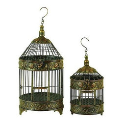 Benzara - Metal Bird Cage - Set of 2 - If you are looking for low cost but rare to find elsewhere utility- decor item to bring extra galore that could refresh the decor appeal of short spaces in garden or porch, beautifully carved 90533 METAL BIRD CAGE S/2 a set of two may be a good choice.