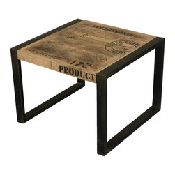 Sierra Living Concepts - Boston Mango Wood Iron Industrial End Table - Add a flavor of industrial furniture to your decor with this Boston Mango Wood Industrial Iron End Table.