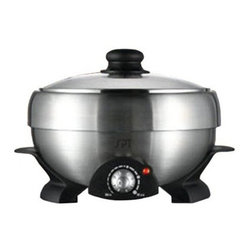Sunpentown SS-301 Multi Cooker Shabu-Shabu & Grill - Make your way through the entire cookbook with the versatile Sunpentown SS-301 Multi Cooker Shabu-Shabu & Grill. Use it for grilling steaming simmering and much more. It's equipped with a stainless steel pot a non-stick griddle a glass lid a steam rack a mesh strainer and strainer support.Features:Adjustable temperature with pilot lightStainless steel potMulti-function cooking: Hot Pot Grill Steam and CookSee-through tempered glass lidAccessories are removable for easy cleaningETL-listedQuick and energy-efficientOperates on 1000 watts of powerDimensions: 12L x 12W x 9H inchesAbout SunpentownSunpentown International designs and manufactures small home appliances for convenient kitchen use. Sunpentown is the largest single producer of induction cooktops in the world controlling over 70% of the domestic market. Aiming to stay at the forefront of induction technology Sunpentown is proud to introduce a new line of uniquely competitive built-in and Wok induction cooktops to appeal to the increasingly global market of the 21st century.