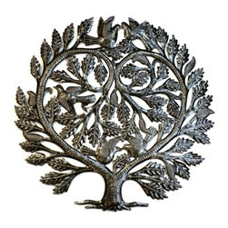Are Naturals - Made of recycled oil drums, this unique piece of steel wall art is intricately designed with a heart shaped tree that houses two love birds.