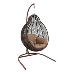 "Benzara - The Beautiful Metal Rattan Swing - Are you looking for a lovely swing that has a roundish shape? Want a swing that can be placed both indoors and outdoors? Well, if you answered in the affirmative then you will love this metal rattan swing. A grand creation, this swing has its own stand and its chair has a unique design in rattan. Perfect for the veranda, the living room or even the bedroom, this swing will give you much pleasure and much needed rest. Perfect for the weekends, you can sit in it and enjoy reading the newspaper. Additionally, it has been made using quality materials; this ensures that it can bear weight easily, and hence will last for years to come. Guests will return to your home to experience its comfort. Indeed, this metal rattan swing is a must have. It will make a fan out of you. Metal rattan swing dimensions: 47 inches (W) x 44 inches (D) x 80 inches (H); Chair: 40 inches (W) x 36 inches (D) x 48 inches (H); Metal rattan swing color: Black; Made from: Metal; Dimensions: 49""L x 13""W x 61""H"