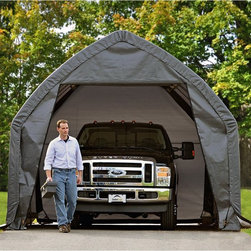 """ShelterLogic - ShelterLogic 13 x 20 x 12 SUV/Truck Garage-in-a-Box Multicolor - 62693 - Shop for Sheds and Storage from Hayneedle.com! Looks like you just found the perfect parking spot. The ShelterLogic 20 x 13 Foot Garage-in-a-Box comes with everything you need to set up enclosed protected parking for your SUV truck or car. This garage has a full 8 feet (2.4m) of door clearance to easily accommodate even full-size trucks. Garage depth is designed to house vehicles up to 20 feet long. Frame details Alpine design frame features a reinforced roof structure for greater volume and overall strength Bolt-together hardware at every joint for easy assembly and unmatched stability Easy Slide Cross Rail for continuous cover tighting. Locks down and squares up frame. Bonus Roll-up Door Kit Cover details Ripstop tough triple-layer woven polyethylene UV-treated on all sides Also treated with fade blockers anti-aging anti-fungal and anti-yellowing agents Ratchet-Tite Cover Tensioning guarantees a tight cover and door panel connection Everything you need is included: (1) 13' x 20' x 12' (3 9 x 6 1 x 3 7 m) garage with 1-5/8"""" / 4 0 cm diameter frame (1) Double Zippered Front Door Panel (1) Solid Rear Door Panel (1) Cover (1) Bonus Roll-up door kit (6) 15"""" / 38 1 cm Auger Anchors (8) Steel Foot Plates (8) Rachet Tite Rachets (1) Set of step-by-step instructions About ShelterLogic LLCShelterLogic LLC specializes in manufacturing and distributing a full line of multi-purpose all-weather shelters and accessories for consumer and commercial use. ShelterLogic offers the most diverse shelter product line and is the worldwide leader in innovative shelter design and manufacturing. The company makes shelters for all kinds of weather and custom solutions for every customer's need - from a full line of canopies garages sheds and storage shelters to popular ports greenhouses equine and engineered structures. More than 2 million ShelterLogic all-weather shelters provide protection and stand bet"""