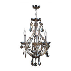 "Worldwide Lighting - Lyre 4 Light Chrome Finish Golden Teak Crystal Chandelier 16"" x 26"" Mini Small - This stunning 4-light Crystal Chandelier only uses the best quality material and workmanship ensuring a beautiful heirloom quality piece. Featuring a radiant chrome finish and finely cut premium grade golden teak (translucent champagne color) crystals with a lead content of 30%, this elegant chandelier will give any room sparkle and glamour. Worldwide Lighting Corporation is a privately owned manufacturer of high quality crystal chandeliers, pendants, surface mounts, sconces and custom decorative lighting products for the residential, hospitality and commercial building markets. Our high quality crystals meet all standards of perfection, possessing lead oxide of 30% that is above industry standards and can be seen in prestigious homes, hotels, restaurants, casinos, and churches across the country. Our mission is to enhance your lighting needs with exceptional quality fixtures at a reasonable price."