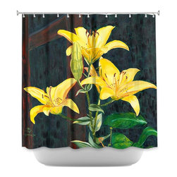 DiaNoche Designs - Shower Curtain Artistic - Midnight Lillies - DiaNoche Designs works with artists from around the world to bring unique, artistic products to decorate all aspects of your home.  Our designer Shower Curtains will be the talk of every guest to visit your bathroom!  Our Shower Curtains have Sewn reinforced holes for curtain rings, Shower Curtain Rings Not Included.  Dye Sublimation printing adheres the ink to the material for long life and durability. Machine Wash upon arrival for maximum softness. Made in USA.  Shower Curtain Rings Not Included.
