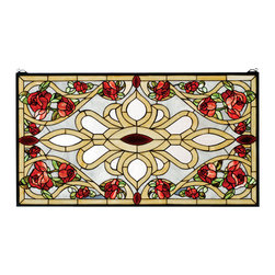 Meyda - 36 Inch W X 20 Inch H Bed Of Roses Window Windows - Color Theme: Grey Burgundy 59 Beige Red
