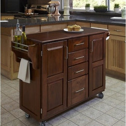 """Home Styles - Create-A-Cart Kitchen Cart - Home Styles Create-a-cart with a .75"""" finished top features solid wood construction, and four cabinet doors that open to storage. Features: -Four-utility drawers.-Two cabinet doors open to storage with adjustable shelves inside.-Handy spice rack with towel bar, paper towel holder.-Heavy duty locking rubber casters for easy mobility and safety.-Create-A-Cart collection.-Product Type: Kitchen Cart.-Collection: Create-a-Cart.-Counter Finish: Cherry wood.-Hardware Finish: Brushed Steel.-Distressed: No.-Powder Coated Finish: No.-Gloss Finish: No.-Base Material: Wood.-Counter Material: Cherry wood.-Hardware Material: Brushed steel.-Solid Wood Construction: Yes.-Number of Items Included: 1.-Water Resistant or Waterproof Cushions: No.-Stain Resistant: No.-Warp Resistant: No.-Exterior Shelves: No.-Drawers Included: Yes -Number of Drawers: 4.-Push Through Drawer: No..-Cabinets Included: Yes -Number of Cabinets : 2.-Double Sided Cabinet: No.-Adjustable Interior Shelves: Yes.-Number of Doors: 2.-Locking Doors: No.-Door Handle Design: Linear pulls..-Towel Rack: Yes -Removable Towel Rack: No..-Pot Rack: No.-Spice Rack: Yes .-Cutting Board: No.-Drop Leaf: No.-Drain Groove: No.-Trash Bin Compartment: No.-Stools Included: No.-Casters: Yes -Locking Casters: Yes.-Removable Casters: No..-Wine Rack: No-Removable Wine Rack: No..-Stemware Rack: No.-Cart Handles: No.-Finished Back: Yes.-Commercial Use: No.-Recycled Content: No.-Eco-Friendly: No.-Product Care: Clean with a damp cloth.Specifications: -ISTA 3A Certified: Yes.Dimensions: -Overall Height - Top to Bottom: 35.5"""".-Overall Width - Side to Side: 48"""".-Overall Depth - Front to Back: 17.75"""".-Width Without Side Attachments: 44.5"""".-Height Without Casters: 31.75"""".-Countertop Thickness: 0.75"""".-Countertop Width - Side to Side: 44.5"""".-Countertop Depth - Front to Back: 17.75"""".-Shelving: -Shelf Width - Side to Side: 12.5"""".-Shelf Depth - Front to Back: 12.75""""..-Leaf: No.-Drawer: -Drawer Interior Height"""