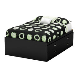 South Shore - South Shore Back Bay Full Captains Bed in Pure Black - South Shore - Kids Beds - 3107209 - This Back Bay full storage bed in Pure Black finish provides a distinctly modern edge. Its 4 spacious and extra large drawers offers plenty of storage space for clothes bedding or toys. Metal handles in a Brushed Nickel finish embellish the drawer fronts. A real space saver since it is like having a 4-drawer dresser under a bed.  It is reversible so the drawers can be accessed from either side.
