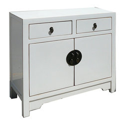 Golden Lotus - White Lacquer Chinese Moon Face Sideboard Console Table TV Stand Cabinet - This is a white lacquered console table which is made of solid elm wood.  Its outside door comes with Moon Face style designed.  It could be as a good entertainment cabinet. It can be put the TV on the top, and DVD VCR player can be stored in the shelf, two drawers can be stored CD, DVD or remote control.  It is a very functional cabinet.