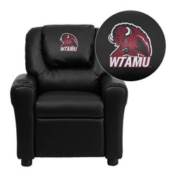 "Flash Furniture - West Texas A&M University Buffaloes Black Leather Kids Recliner with Cup Holder - Get young kids in the college spirit with this embroidered college recliner. Kids will now be able to enjoy the comfort that adults experience with a comfortable recliner that was made just for them! This chair features a strong wood frame with soft foam and then enveloped in durable leather upholstery for your active child. This petite sized recliner is highlighted with a cup holder in the arm to rest their drink during their favorite show or while reading a book. West Texas A&M University Embroidered Kids Recliner; Embroidered Applique on Oversized Headrest; Overstuffed Padding for Comfort; Easy to Clean Upholstery with Damp Cloth; Cup Holder in armrest; Solid Hardwood Frame; Raised Black Plastic Feet; Intended use for Children Ages 3-9; 90 lb. Weight Limit; CA117 Fire Retardant Foam; Black LeatherSoft Upholstery; LeatherSoft is leather and polyurethane for added Softness and Durability; Safety Feature: Will not recline unless child is in seated position and pulls ottoman 1"" out and then reclines; Safety Feature: Will not recline unless child is in seated position and pulls ottoman 1"" out and then reclines; Overall dimensions: 24""W x 21.5"" - 36.5""D x 27""H"
