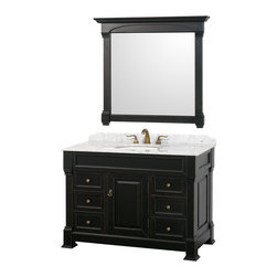 Wyndham Collection - Andover Bathroom Vanity in Antique Black, White  Carrera Top, White UM Sink - A new edition to the Wyndham Collection, the beautiful Andover bathroom vanity series represents an updated take on traditional styling. The Andover is a keystone piece, with strong, classic lines and an attention to detail. The vanity and solid marble countertop are hand carved and stained. Available in Black, White and Dark Cherry finishes to match any decor. Available in a range of single or double vanity sizes to fit any bathroom.