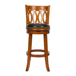 "Safavieh - Safavieh Baldwin 29"" Bar Stool X-A4007XOF - Choose the Baldwin Bar Stool for great styling and performance. A graceful new take on traditional styling, Baldwin features oval carving on and gently curved legs&#8212:all crafted in Malaysian Oak stained in a dark oak finish. The swivel seat's black bi-cast"