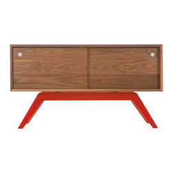 Eastvold Furniture - Elko Credenza Small Walnut - Eastvold Furniture - Classic with a twist. While inspired by mid-century design, the metal base was born in the new millenium. The sleek base is laser cut and powder coated in one of 6 color options. The box is handcrafted of solid wood with reinforced mitered joints allowing the wood grain to wrap around the entire piece. Behind the smooth sliding doors are adjustable shelves and wire passages that make it a simple and flexible place for all of your media needs, wired and unwired. The Elko Credenza comes in 12 different combinations, making this piece highly customizable for your home, office or studio.
