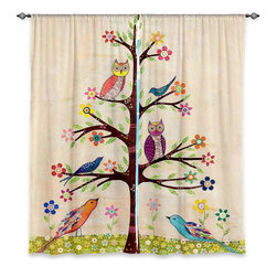 "DiaNoche Designs - Window Curtains Unlined - Sascalia Owl Bird Tree 2 - DiaNoche Designs works with artists from around the world to print their stunning works to many unique home decor items.  Purchasing window curtains just got easier and better! Create a designer look to any of your living spaces with our decorative and unique ""Unlined Window Curtains."" Perfect for the living room, dining room or bedroom, these artistic curtains are an easy and inexpensive way to add color and style when decorating your home.  The art is printed to a polyester fabric that softly filters outside light and creates a privacy barrier.  Watch the art brighten in the sunlight!  Each package includes two easy-to-hang, 3 inch diameter pole-pocket curtain panels.  The width listed is the total measurement of the two panels.  Curtain rod sold separately. Easy care, machine wash cold, tumble dry low, iron low if needed.  Printed in the USA."