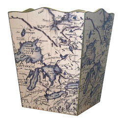 Antique Great Lakes Map Decoupage Wastebasket - Decorating with maps is trending these days. Why not on a wastebasket? Here an old Great Lakes map is decoupaged onto a tin, fluted wastebasket.