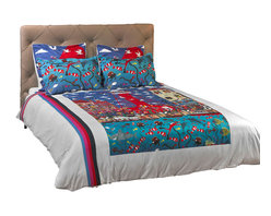 """ARTnBED - Duvet Cover Set """"Pottering at the Port"""", Option A, Full/Queen - Sailing off from the Port to new adventures across the world and then returning to your loved ones waiting with open arms to embrace you. This will be one of many wonderful dreams to be had when you sleep in """"Pottering at the Port"""" by artist Marie Jonsson-Harrison. Come pottering around the port with us, perhaps have a snorkel or a drink or just enjoy the buskers and the atmosphere."""