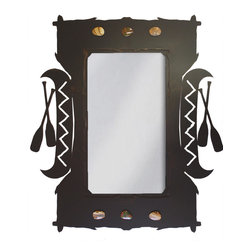 """Ironwood - Wrought Iron Canoe & Paddles Mirror 30"""" - This  unique  rustic  iron  mirror  frame  features  a  canoe  and  paddles  and  polished  rock  motif.  Perfect  for  your  southwestern  decor,  this  unique  mirror  with  a  Native  American  design  will  be  a  delightful  addition  to  your  rustic  retreat.          ."""