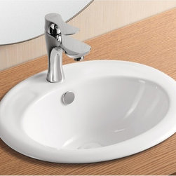 Caracalla - Oval White Ceramic Self Rimming Bathroom Sink - Simply sleek oval sink for the bathroom of powder room comes with a white finish. Created as a self rimming sink with one hole and overflow, this bathroom sink is easy to install and looks great with any vanity. Made of ceramic by Caracalla in Italy. Self rimming installation. With overflow. One faucet holes. Oval sink design. By Caracalla. Standard drain size of 1.25 inches.