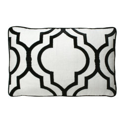 Velvet Gate Pillow - Black/Ivory - A Moroccan motif expanded into a space-filling lantern shape makes for sumptuous curves and eye-catching drama on the Velvet Gate Pillow. In the designer's signature pale blue, the solid background provides a light, soft hue in your room, while the subtle silvery plush used to indicate the outlines of the design contrasts in sheen for a sophisticated appearance. This rectangular cushion looks stunning in a window seat or on a daybed.