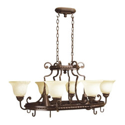Craftmade - 8 Light Hanging Pot Rack in Aged Bronze - Ria - Bulb Type: Candelabra and R-Type or PAR20. Max Watt: 6x60W (Candelabra) and 2x50W (R-Type or PAR20). Glass Finish: Antique Scavo. Height: 18.0 in.. Width: 38.5 in.. Weight: 106 lbs.. Size: 6 Lamp/2 Lamp. Type of Fixture: Pot Rack. This fixture comes with 10' of chain and 12' of cord. Must be mounted to ceiling beam. Features 3-Position Switching