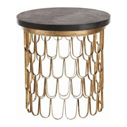 """Arteriors - Arteriors Home - Orleans Leaf End Table - 2181 - Arteriors Home - Orleans Leaf End Table - 2181 Features: Orleans Collection End TableGold leaf ColorIron FinishMarble Top table materialBlack Top table colorModern / Contemporary Style Some Assembly Required. Dimensions: 23.5"""" D X 24"""" H"""