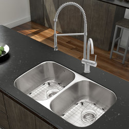 """Vigo - All in One 32"""" Undermount Stainless Steel Kitchen Sink and Faucet Set - Breathe new life into your kitchen with a VIGO All in One Kitchen Set featuring a 32"""" Undermount kitchen sink, faucet, soap dispenser, matching bottom grids, and strainers.; The VGR3218BL double bowl sink is manufactured with 18 gauge premium 304 Series stainless steel construction with commercial grade premium satin finish; Fully undercoated and padded with a unique multi layer sound eliminating technology, which also prevents condensation.; All VIGO kitchen sinks are warranted against rust; Exterior Measures: 32 1/4""""W x 18 1/2""""D; Each bowl's interior dimensions: 14 5/8""""W x 16 1/2""""D; Bowl depth: 9"""" (larger bowl) and 5"""" (smaller bowl); Required interior cabinet space: 35""""; Kitchen sink is cUPC and NSF-61 certified by IAPMO; All mounting hardware and cutout template provided for 1/8"""" reveal or flush installation; The VG02006ST Kitchen faucet features a spiral pull-down spray head for powerful spray and separate spout for aerated flow, and is made of solid brass with a stainless steel finish.; Includes a spray face that resists mineral buildup and is easy-to-clean; High-quality ceramic disc cartridge; Retractable 360-degree swivel spout expandable up to 20""""; Single lever water and temperature control; All mounting hardware and hot/cold waterlines are included; Water pressure tested for industry standard, 2.2 GPM Flow Rate; Standard US plumbing 3/8"""" connections; Faucet height: 28""""; Spout reach: 8 5/8""""; Faucet sprayer reach: 12""""; Kitchen faucet is cUPC, NSF-61, and AB1953 certified by IAPMO.; Faucet is ADA Compliant; 2-hole installation with soap dispenser; Soap dispenser is constructed of solid brass with a stainless steel finish and fits 1 1/2"""" opening with a 3 1/2"""" spout projection.; Matching bottom grids are chrome-plated stainless steel with vinyl feet and protective bumpers.; Sink strainers are made of durable solid brass in chrome finish; All VIGO kitchen sinks and faucets have a Limit"""