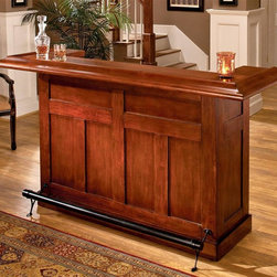 Hillsdale - Classic Wood Home Bar - The Classic Cherry Large Bar dresses up any décor. Constructed with solid hardwood and cherry veneers, this bar is charming enough for home use and durable enough for commercial use. Offers plenty of space for all your glasswear, supplies, and consumables. The sleek paneled styling of our cherry home bar offers solid wood and cherry veneer construction couple with spacious cabinets and drawers. This classic style bar made from hardwood and cherry veneers is perfect for any home. * Wine rack accommodates 12 bottles. Cabinets & drawers for additional storage space. Constructed of solid hardwoods & Cherry veneers. Black footrest. Pictured in Cherry finish. 78 in. L x 26.5 in. W x 42.75 in. HThis bar has classic styling. The wine rack, which holds up to 12 bottles, cabinets and drawers provide ample storage space. Made of solid hardwoods with cherry veneers.