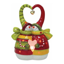 WL - Holiday Snowman Couple with Heart Design Tea Light Candle Holder - This gorgeous Holiday Snowman Couple with Heart Design Tea Light Candle Holder has the finest details and highest quality you will find anywhere! Holiday Snowman Couple with Heart Design Tea Light Candle Holder is truly remarkable.