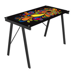 LumiSource - Psychedelic Office Desk - The Psychedelic Office Desk features a unique artistic print to give your office or dorm room a unique look! This desk features tempered glass atop a sturdy steel frame. Works great as a drafting table too.