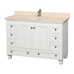 "Wyndham Collection - 48"" Acclaim Single Bathroom Vanity w/ Ivory Marble Top, Square Sink, No Mirror - Sublimely linking traditional and modern design aesthetics, and part of the exclusive Wyndham Collection Designer Series by Christopher Grubb, the Acclaim Vanity is at home in almost every bathroom decor. This solid oak vanity blends the simple lines of traditional design with modern elements like beautiful overmount sinks and brushed chrome hardware, resulting in a timeless piece of bathroom furniture. The Acclaim comes with a White Carrera or Ivory marble counter, a choice of sinks, and matching mirrors. Featuring soft close door hinges and drawer glides, you'll never hear a noisy door again! Meticulously finished with brushed chrome hardware, the attention to detail on this beautiful vanity is second to none and is sure to be envy of your friends and neighbors"