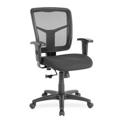 """Lorell - Lorell Managerial Mesh Mid-back Chair - Fabric Black Seat - Black Back - Managerial mid-back chair features a breathable mesh back chair and fabric-upholstered seat. Mesh upholstery is made of high-strength elastic nylon. Ergonomically designed mid-back matches the natural curvature of a person's back. Arms adjust in height (25"""" to 28-7/10"""") and in width (24"""" to 26""""). Functions include pneumatic seat-height adjustment (17-7/10"""" to 21"""" high from the floor), 360-degree swivel and swivel tilt mechanism. Black frame has five-star, reinforced nylon base (25"""" diameter) with casters for easy mobility. Seat size is 20"""" wide x 18-7/10"""" depth. Back measures 20"""" wide (at the widest portion) x 19-7/10"""" high. Weight capacity is 250 lb. Chair meets the CA117 fire-retardant standard."""