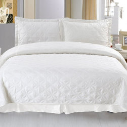 Lavish Home - Lavish Home Andrea Embroidered Quilt Set Multicolor - 66-10007-K - Shop for Bedding Sets from Hayneedle.com! Like fresh cream the Lavish Home Andrea Embroidered Quilt Set adds luxury to your bedroom. This quilted set includes an embroidered diamond pattern for detail. It's made of soft polyester with a needle-pouched cotton backing and polyester microfiber fill. The quilt set comes with one matching pillowcase for the twin size and two for all other sizes. Dimensions: Twin: 65 x 86 in. Full / Queen: 86 x 86 in. King: 102 x 86 in. About Trademark Global Inc.Located in Lorain Ohio Trademark Global offers a vast selection of items for your home and lifestyle. Whether you need automotive products collectibles electronics general merchandise home and garden items home decor housewares outdoor supplies sporting goods tools or toys Trademark Global has it at a price you can afford. Decor items and so much more are the hallmark of this company.