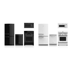 GE Artistry™ appliances - iconic American design - GE's new Artistry series debuting Fall of 2013 to feature retro style kitchen appliances offered in both black and white suites.  Very cool design that looks to work in both retro and contemporary style kitchens.  Press release:  http://pressroom.geappliances.com/news/ge-unveils-first-line-of-appliances-designed-by-a-millennial-for-millennials.  Article on this series:  http://retrorenovation.com/2013/06/26/retro-kitchen-appliances-ge/