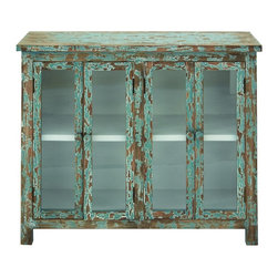 Benzara - Old World Wooden Cabinet Glass Shelves Green Furniture Accent Home Decor - Old world inspired style wooden cabinet with glass shelves and an aged antique green finish furniture accent home decor